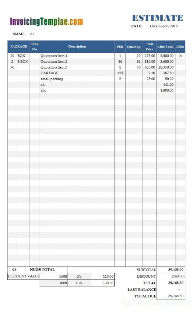Excel Quotation Format With Special Discounting Model