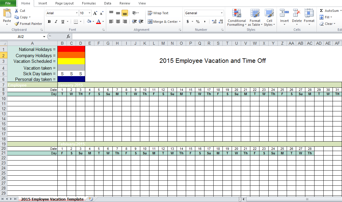Employee Vacation Tracking Excel Template 2015 Excel Tmp