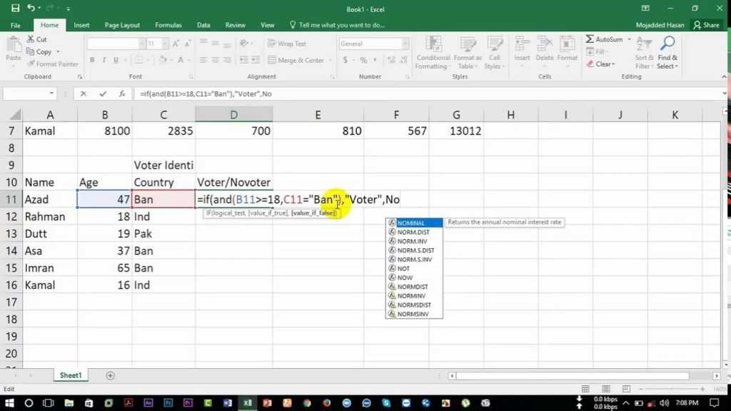 How To Count Voter In Excel 2016 YouTube