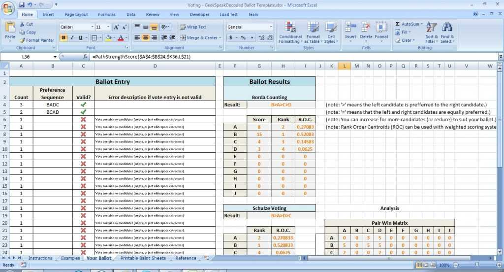 Voting Excel Template And Add In Borda Counting And