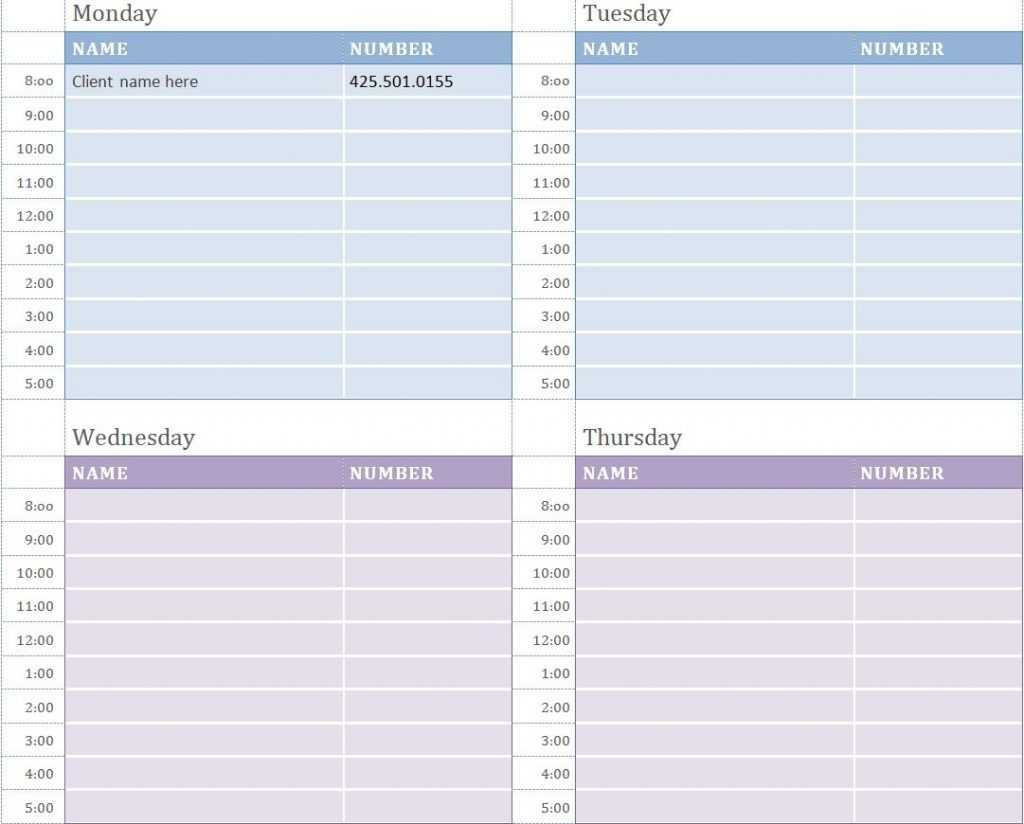 Weekly Appointment Calendar Weekly Appointment Calendar