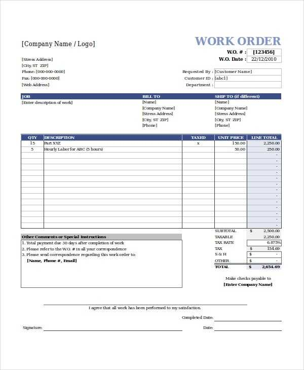 Excel Work Order Template 15 Free Excel Document