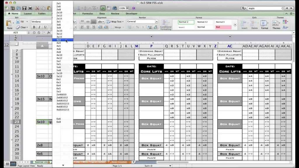 PT Fitness Excel Workout Template From Excel Training