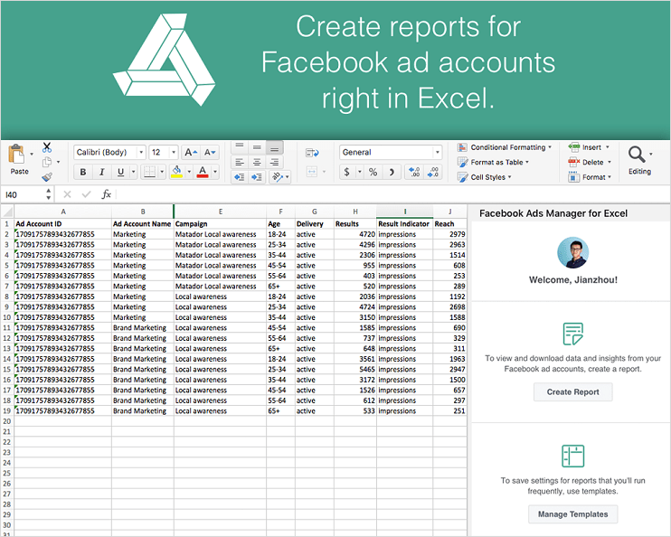 Facebook Ads Excel Template - The New Facebook Ads Manager For Excel Supercharges