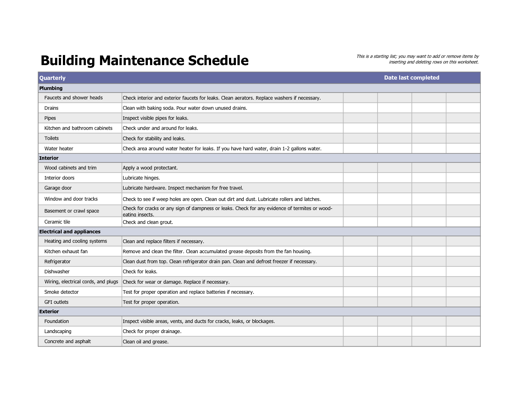 Building Maintenance Schedule Excel Template Building