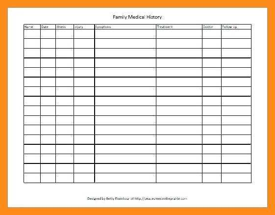 12 13 Medical History Template Excel Lascazuelasphilly