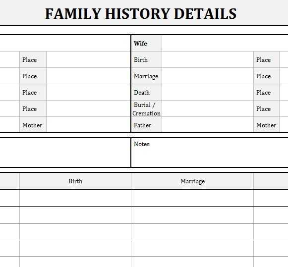 Family History Records My Excel Templates