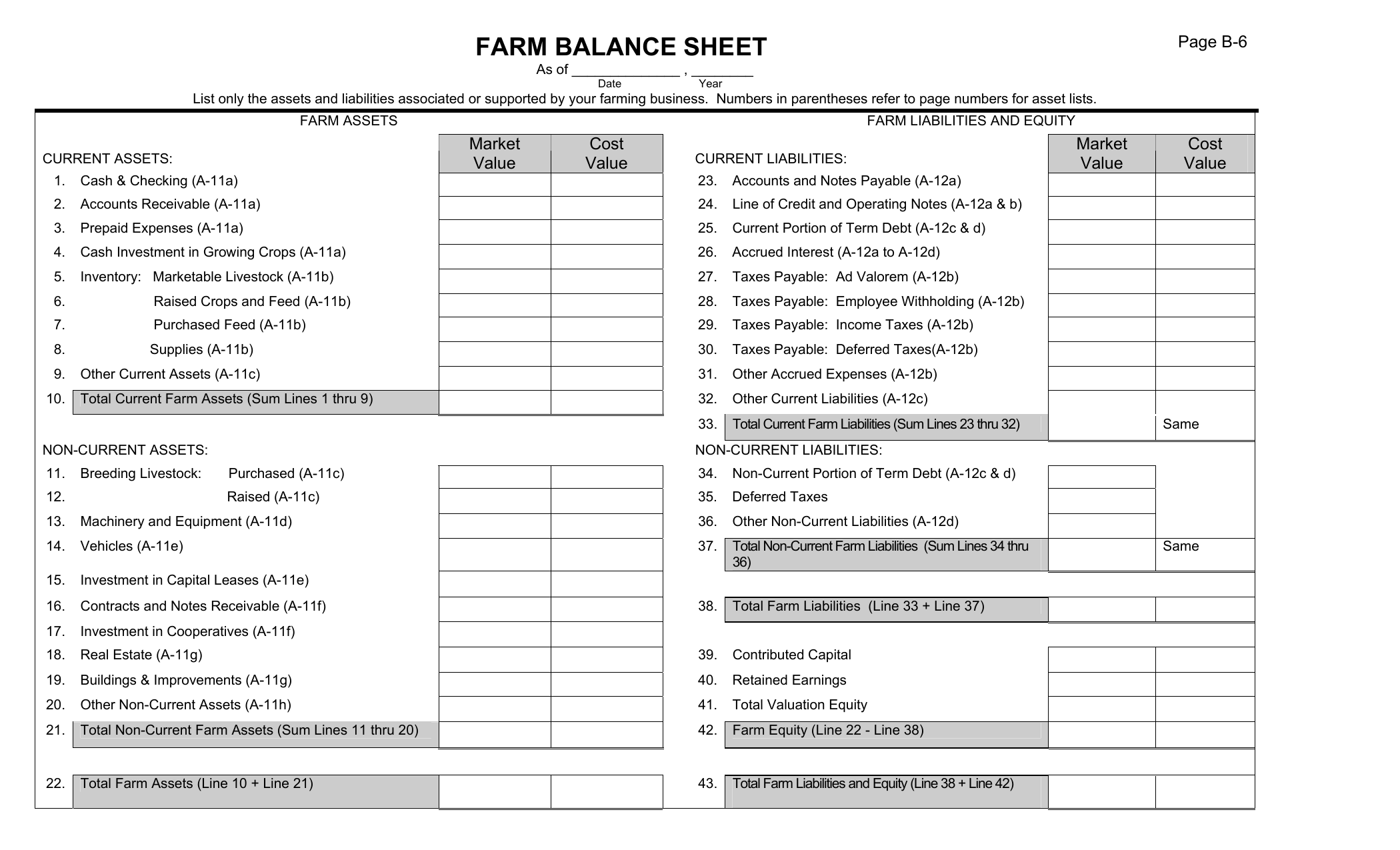 Download Farm Balance Sheet Template Excel PDF RTF