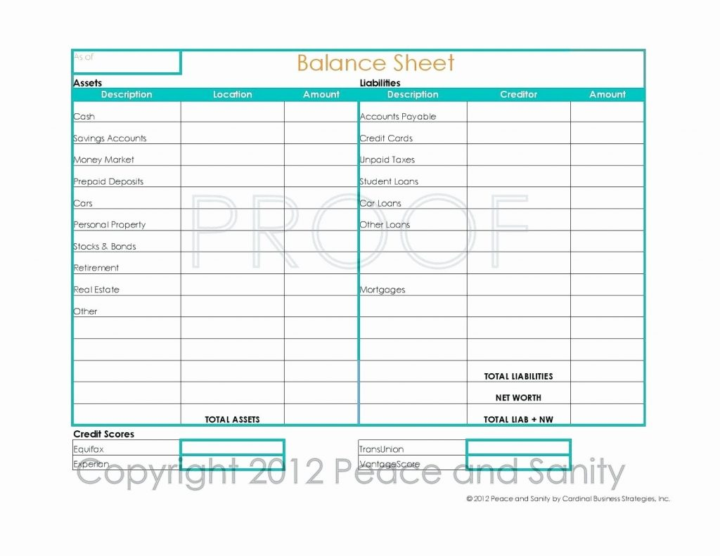 Lovely Personal Balance Sheet Template Excel