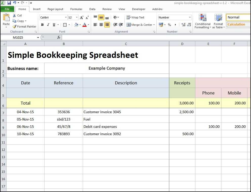 Excel Bookkeeping Sheet For Accounting Template Free
