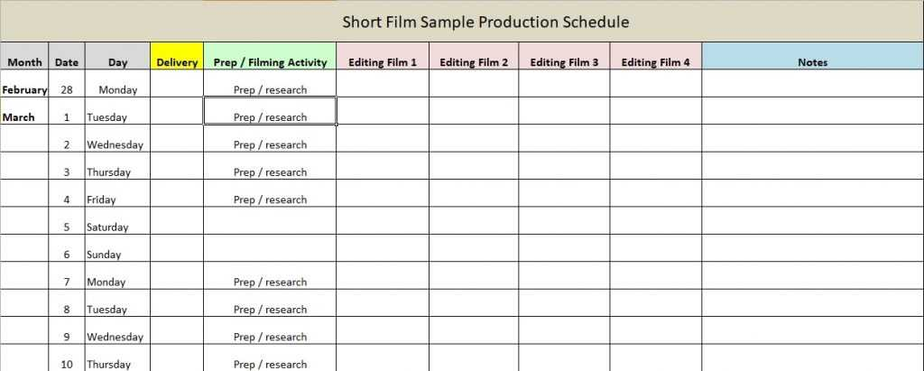 Production Schedule Template Excel Word Excel TMP