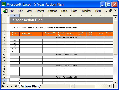 Action Plan Template MS Word Free Excel Spreadsheets