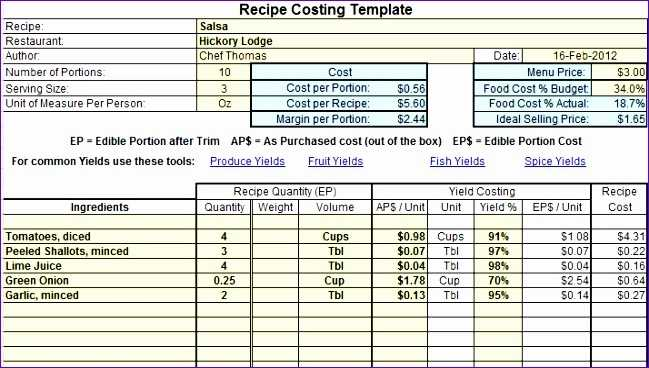 10 Food Cost Excel Template Excel Templates Excel