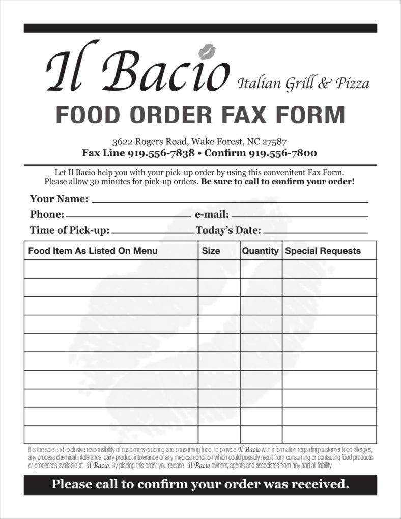10 Food Order Form Templates Word Docs Free