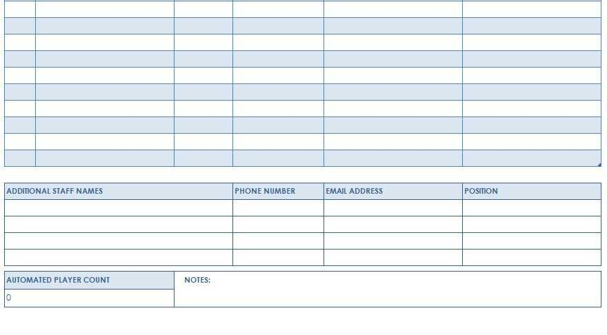 Football Roster Template Youth Football Roster Template