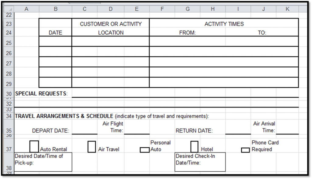 Excel Spreadsheets Help Travel Authorization Request Form