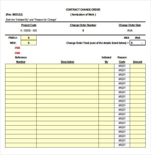Construction Order Template 16 Free Excel Word PDF