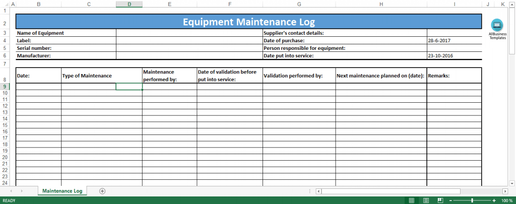 Equipment Maintenance Log Excel Template Templates At