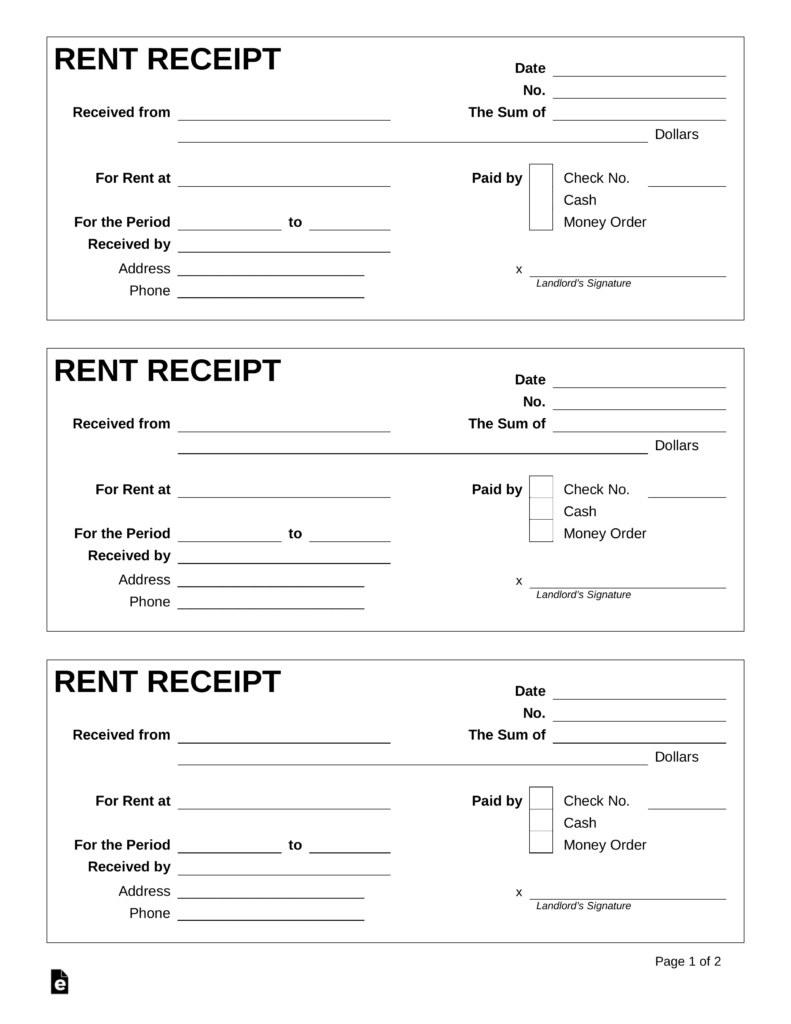 Best 3 Rent Receipt Template Format Example You Calendars