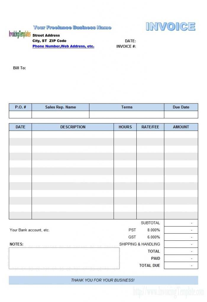Freelance Invoice Template Excel Invoice Example