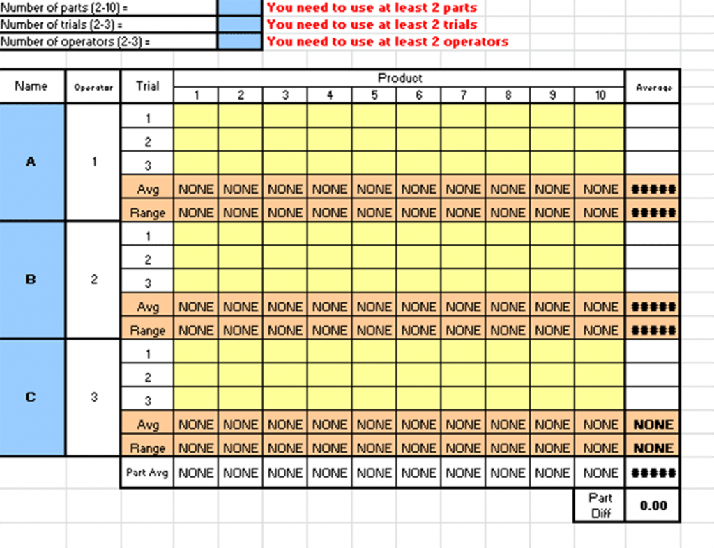 Gage R R Excel Template
