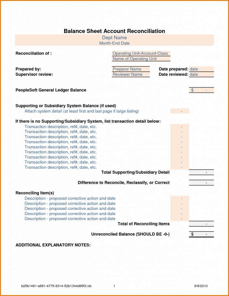 Balance Sheet Reconciliation Template Excel Balance
