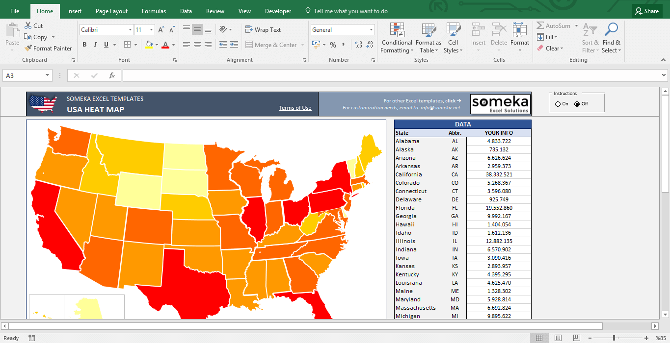 USA Heat Map Excel Template Automatic State Coloring