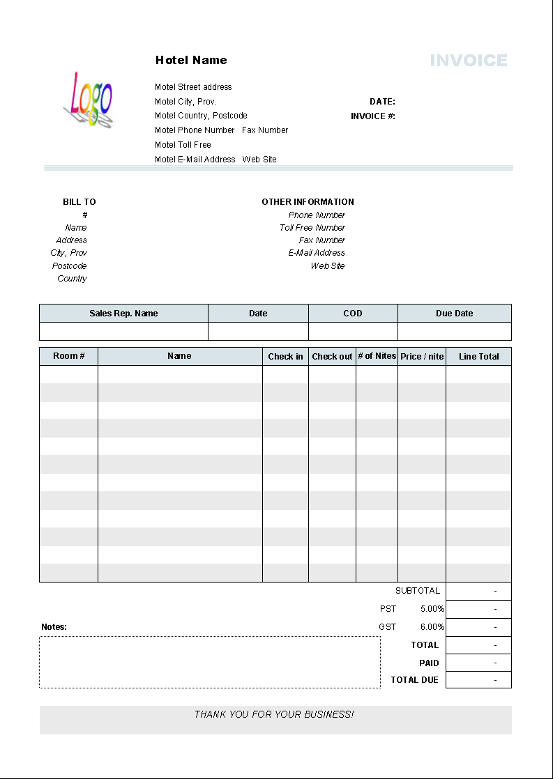 Hotel Invoice Template Invoice Manager For Excel