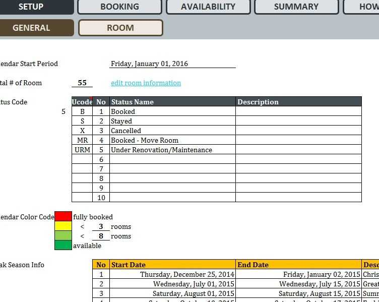Hotel Reservation System My Excel Templates