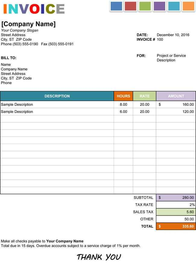 15 Hourly Service Invoice Templates In Excel Word And PDF