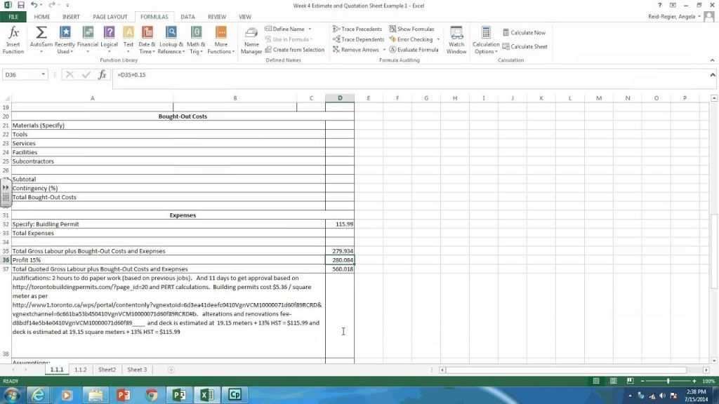 Creating Estimate And Quotation Sheets In Excel YouTube