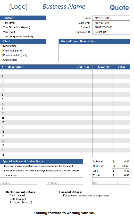 Quote spreadsheet Template ExcelSuperSite