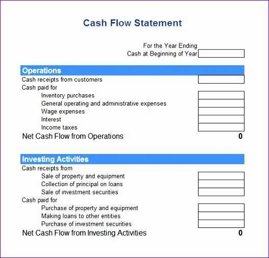 8 Indirect Cash Flow Statement Excel Template Excel