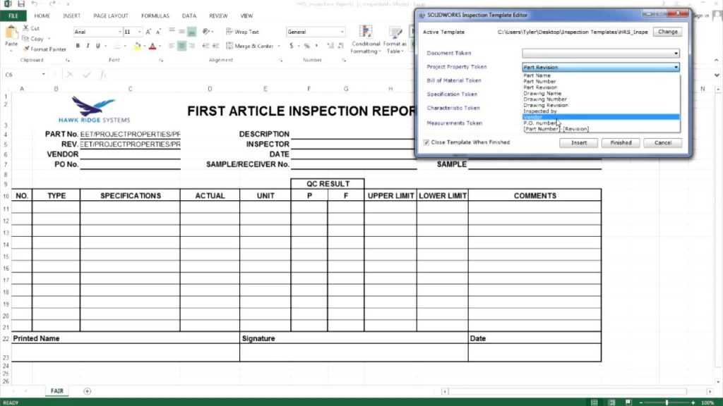 SOLIDWORKS Inspection Creating A Custom Report Template