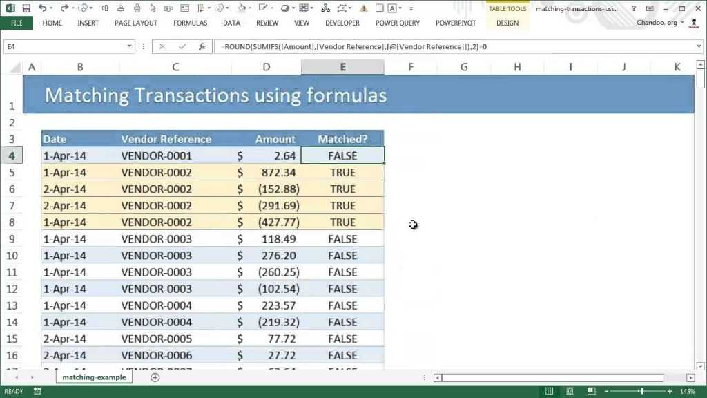 Matching Transactions reconciling Using Excel Pivot