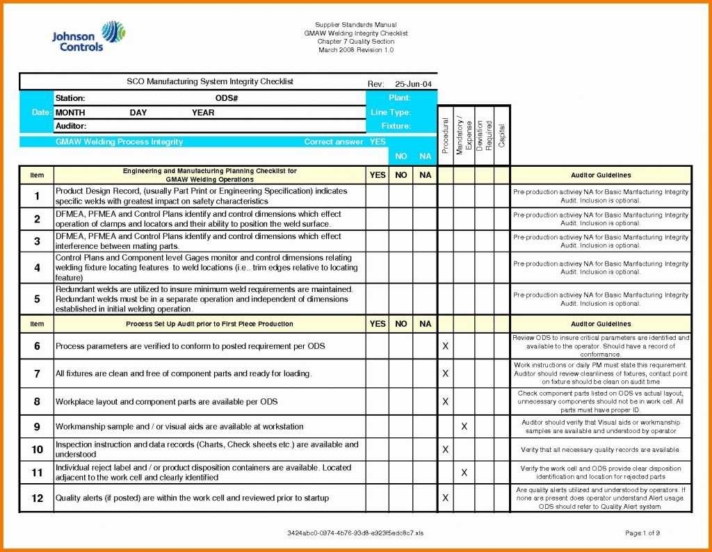 Iso 9001 2015 Checklist Excel Template Glendale Community