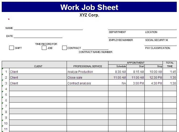 Job Costing Sheet Excel Template Excel Templates