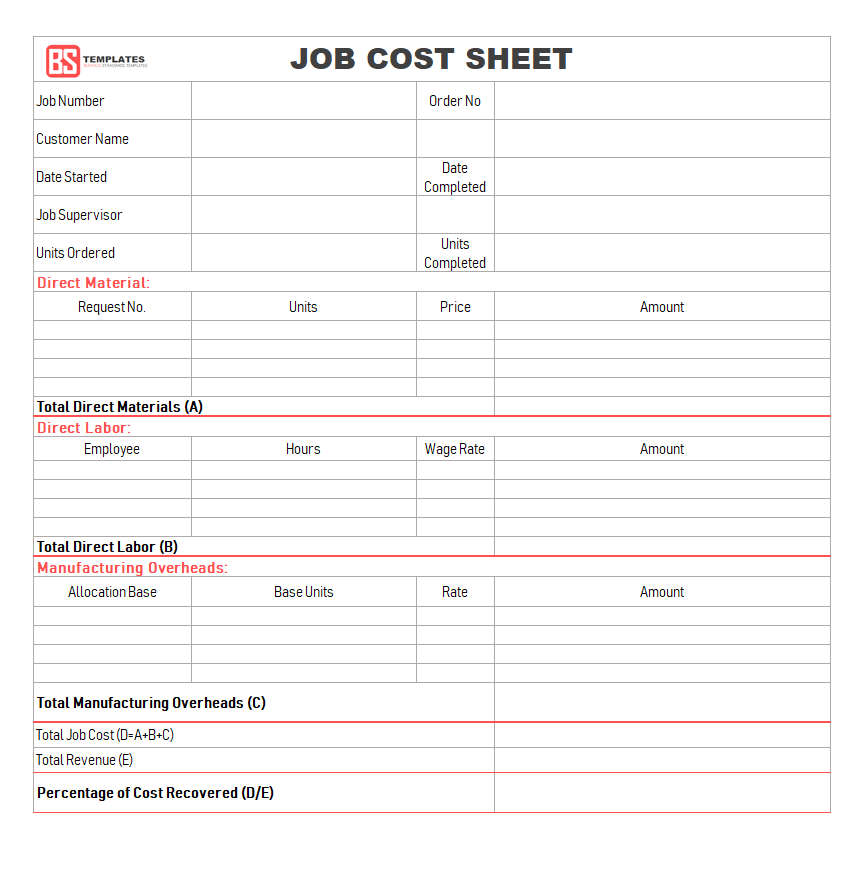Job Sheet 10 Free Templates Format Samples Examples For