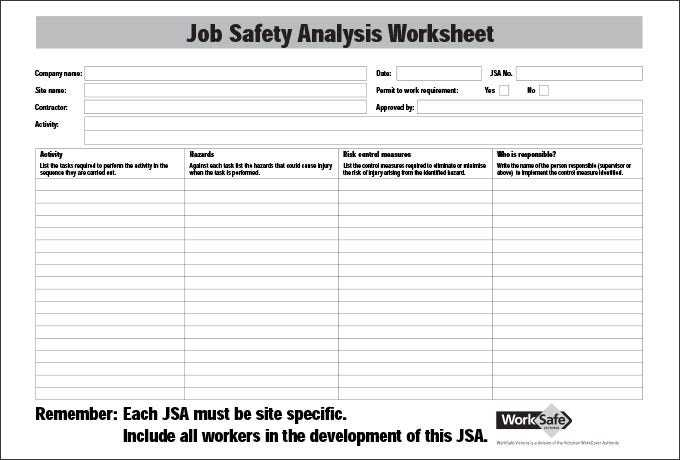 10 Sample Job Safety Analysis Templates PDF DOC Free