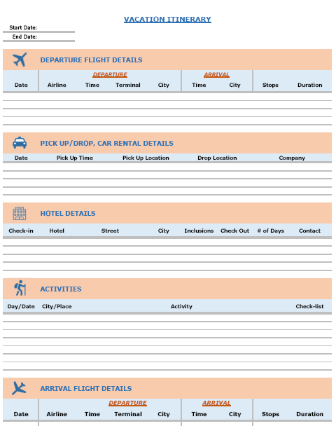 FREE Excel Templates Combo Vacation Itinerary Planner