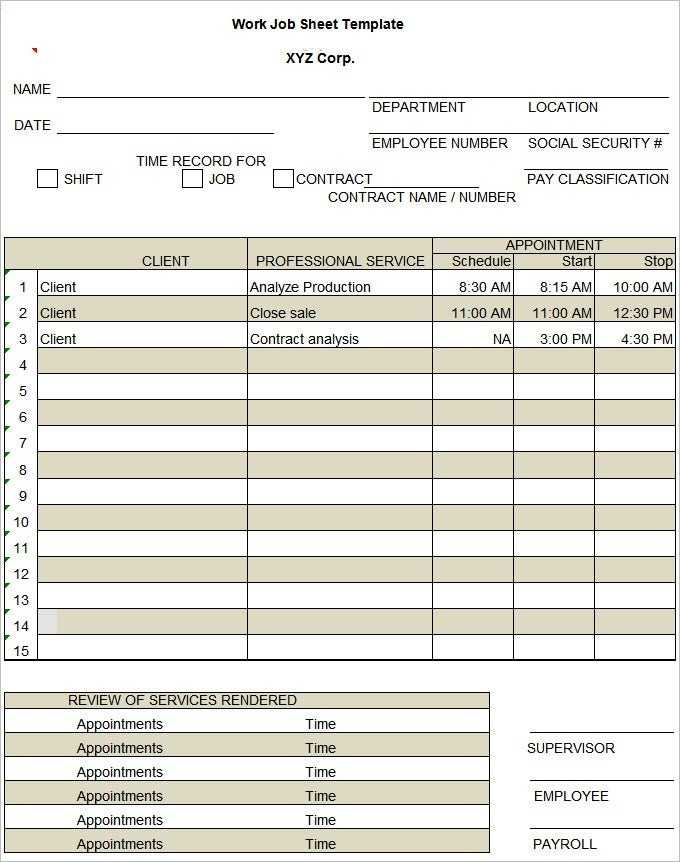 Job Sheet Template 13 Free Word Excel PDF Documents
