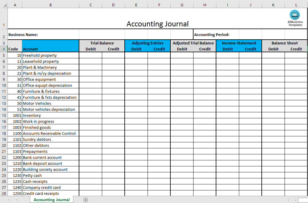 Accounting Journal Excel Template Templates At
