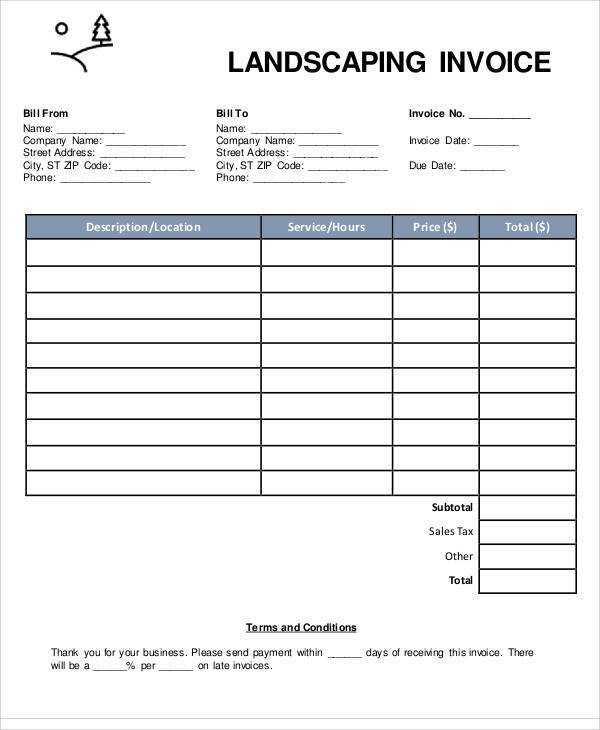 Sample Landscaping Invoice Apcc2017