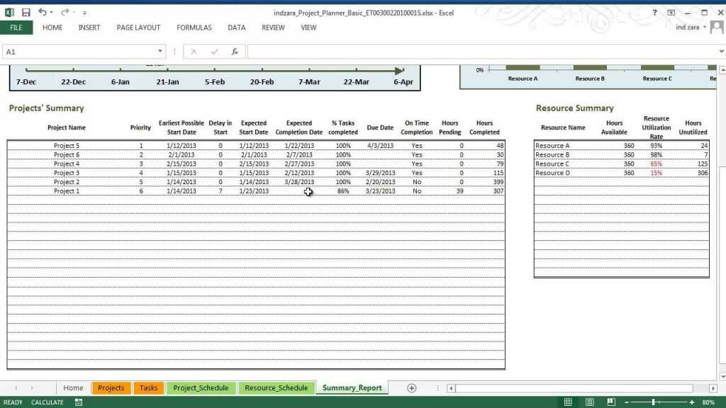 Project Planner Basic Excel Template Part 3