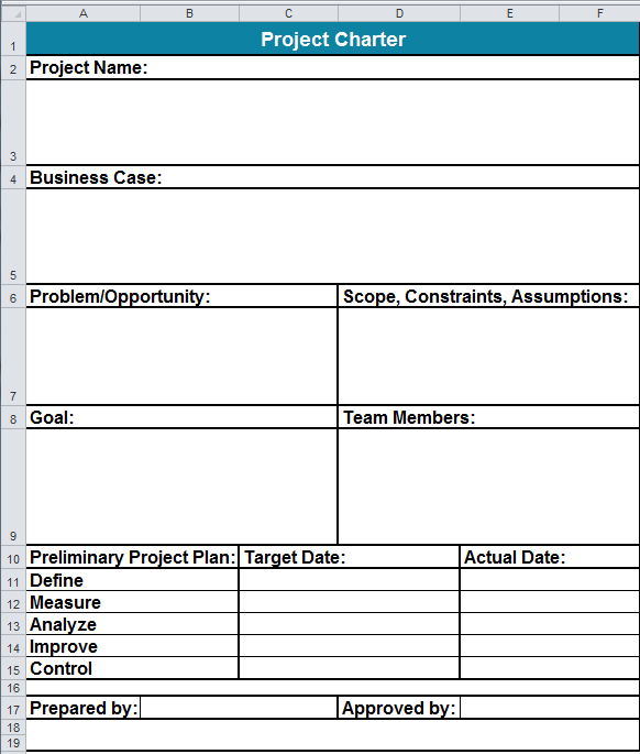 Project Charter Template In Excel
