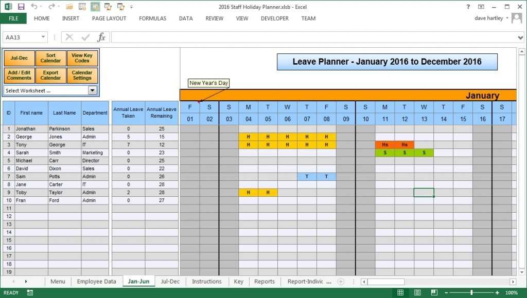 Annual Leave Plan Template Excel Free Printable Schedule