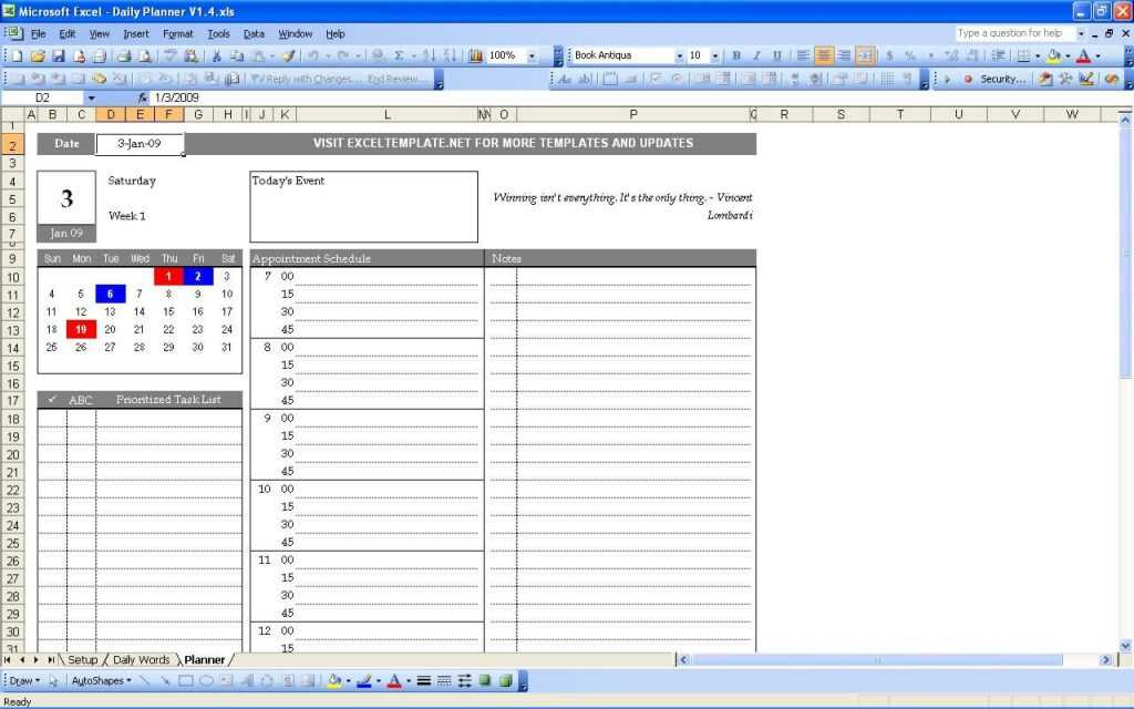 Daily Planner ExcelTemplate