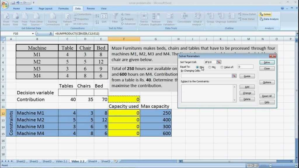 MS Excel Solver With Sumproduct Linear Programming YouTube
