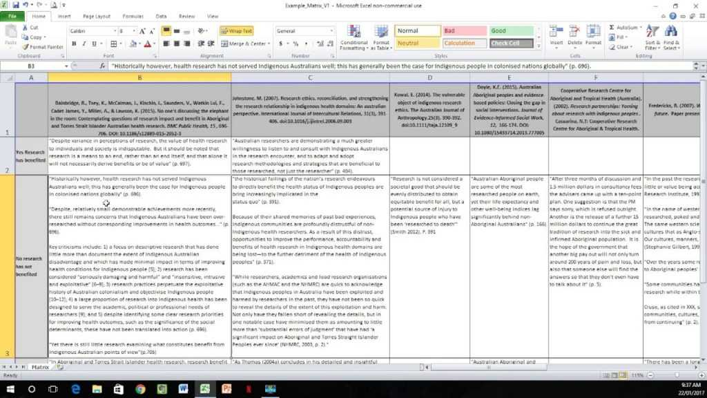 How To Create A Literature Matrix Excel YouTube