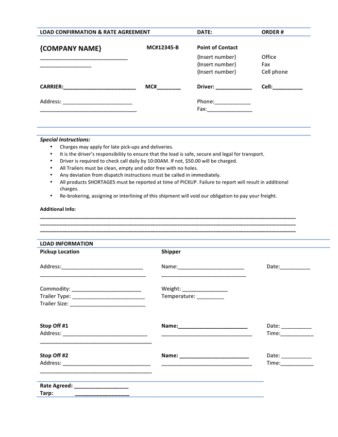 Load Confirmation Rate Agreement Template In Word And